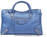 Balenciaga Metallic Edge City Textured-leather Tote - Light blue
