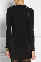 Studded ribbed stretch cotton-blend sweater