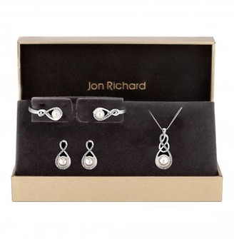 Jon Richard Silver Plated Crystal and Pearl Infinity Pendant, Bracelet and Earrings Set