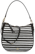 Kate Spade Cobble Hill Collection Mylie Striped Raffia Hobo Bag