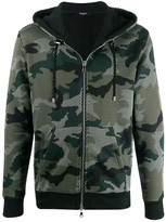 Balmain camouflage mesh zipped hoodie