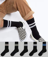 Asos Sports Socks In Black Base With Pastel Stripes & Branded Sole 5 Pack