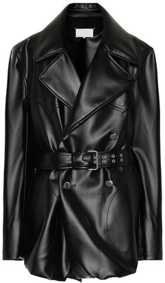 Maison Margiela Belted faux-leather coat