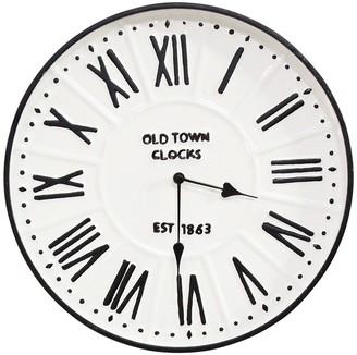 "Stratton Home 16"" Metal Enamel Parker Wall Clock"