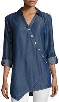 Go Silk Long-Sleeve Denim Asymmetric Button Shirt, Plus Size