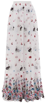 Erdem Lydell Floral-embroidered Organza Maxi Skirt - White Multi
