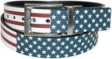 PGA Men's Leather Reversible American Flag to Solid Black Belt