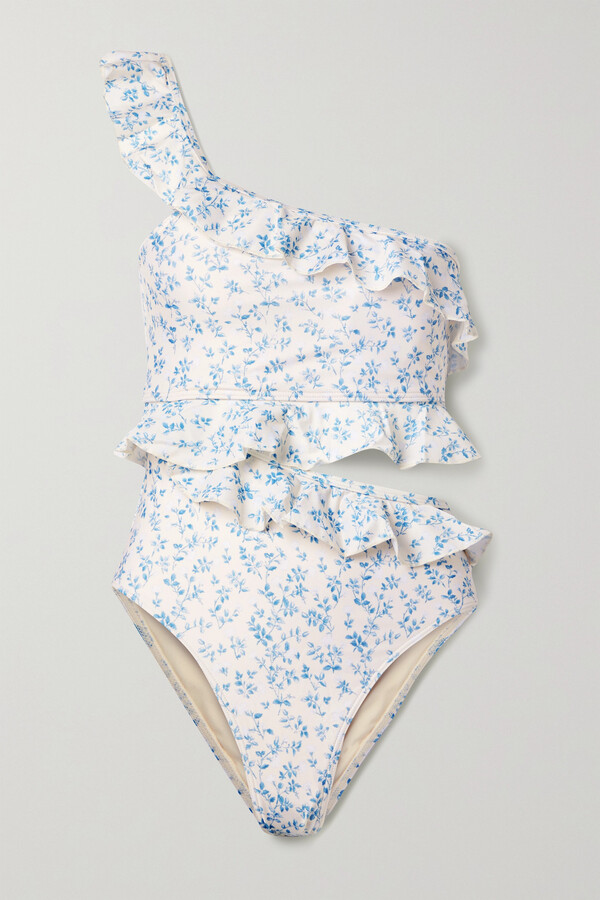 Thumbnail for your product : Peony Swimwear + Net Sustain Ruffled Floral-print Stretch-econyl Swimsuit