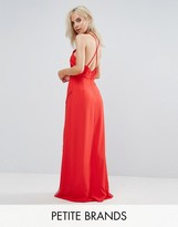Boohoo Petite Crochet Cross Back Maxi Dress