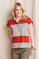 Lands' End Women's Rugby Stripe Jersey Polo