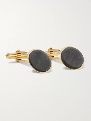 Lanvin Gold-Plated and Obsidian Cufflinks - Men - Gold