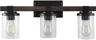 Jonathan Y Designs Bungalow 22.75In 3-Light Iron/Seeded Glass Rustic Farmhouse Led Vanity Light