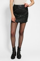 Sparkle & Fade Quilted Vegan Leather Mini Skirt