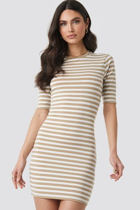 NA-KD Striped Fitted T-shirt Dress