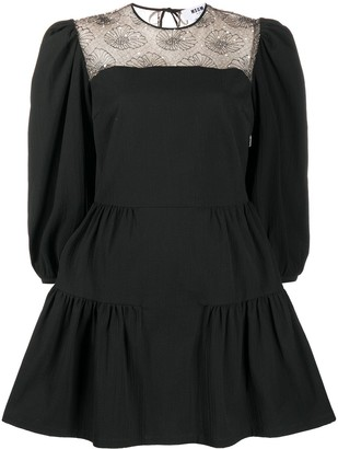 MSGM Faux-Pearl Embellished Puff Sleeves Dress