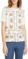 Tory Burch Print Silk Front Short Sleeve Sweater
