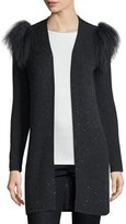 Neiman Marcus Sequined Cardigan with Mongolian Fur Shoulder