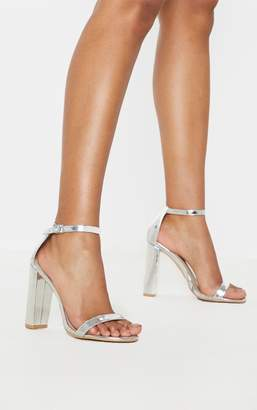 PrettyLittleThing May Gold Block Heeled Sandal