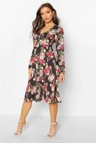 boohoo Floral Print Tie Front Woven Midi Dress