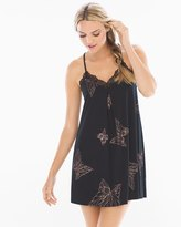 Soma Intimates Lace Trim Sleep Chemise Butterfly Large Black