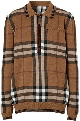 Burberry Intarsia Check Wool Polo Shirt