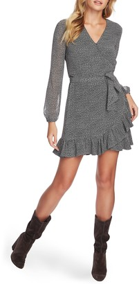 1 STATE 1.STATE Long Sleeve Ruffle Hem Wrap Dress