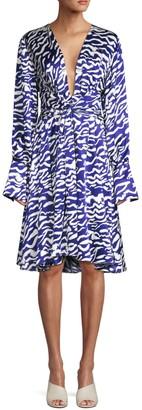 Prabal Gurung Charmeuse Animal-Print Silk Dress