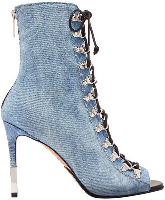 Balmain Club Lace-up Faded Denim Ankle Boots