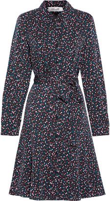 Diane von Furstenberg Dory Belted Stretch-silk Crepe De Chine Shirt Dress