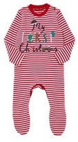 F&F My First Christmas Striped Sleepsuit, Newborn Unisex
