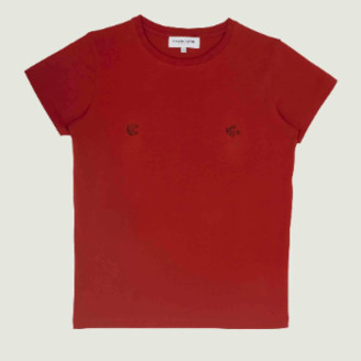 Maison Labiche Poppy Red Cotton Moon and Stars T Shirt - xs | cotton | Poppy Red
