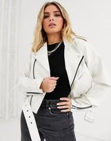 Asos Design DESIGN white oversize leather look biker jacket