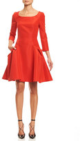 Carolina Herrera Faille 3/4-Sleeve Fit-&-Flare Cocktail Dress, Fire Red