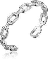 Kacey K Single Chain Link White Bangle Bracelet