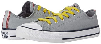 Converse Chuck Taylor(r) All Star(r) Denim - Ox (Little Kid/Big Kid) (Ash Stone/University Red/Speed Yellow) Boy's Shoes