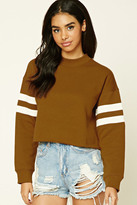 Forever 21 FOREVER 21+ Raw-Cut Striped Sweatshirt