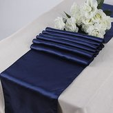 MDS Pack Of 10 Wedding 12 x 108 inch Satin Table Runner Wedding Banquet Decoration- Navy Blue