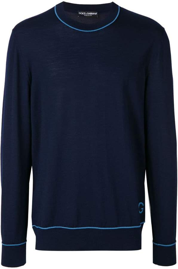 Dolce & Gabbana contrast pipe trim sweater