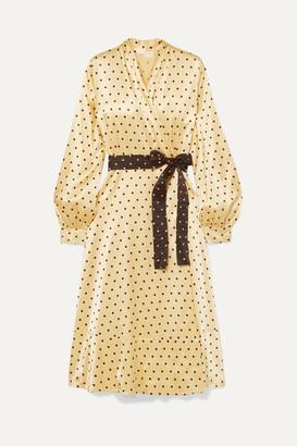 Stine Goya Reflection Polka-dot Satin Midi Wrap Dress - Yellow