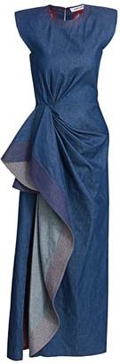 Prabal Gurung Side Draped Cascade Denim Dress