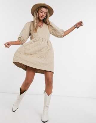 Object quilted v neck smock dress in beige