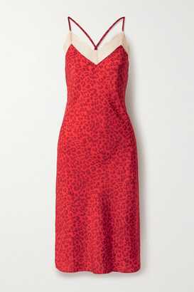 LOVE Stories Luna Lace-trimmed Leopard-print Crepe Midi Dress - Red