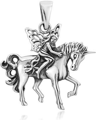 Aeravida Handmade Wood Fairy Riding Unicorn Sterling Silver Charm Pendant