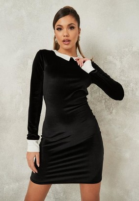 Missguided Black Exaggerated Collar Velour Bodycon Dress