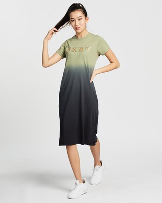 DKNY Dip Dye Midi T-Shirt Dress