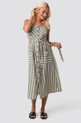 Trendyol Button Linen Midi Dress