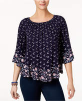 Style&Co. Style & Co Petite Mixed-Print Flounce Top, Created for Macy's