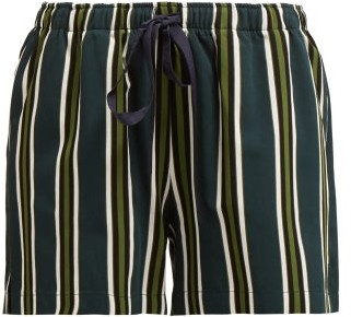 Marios Schwab On The Island By Sennen Striped Shorts - Womens - Green Stripe