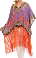 Sakkas KF5021A - Keagan Mid Length Poncho Blouse Shirt Top With Fringe And Tribal Print - OS