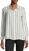 Neiman Marcus Striped Long-Sleeve Blouse